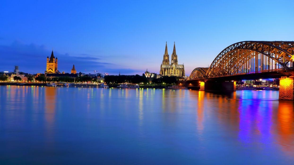 cityscapes shore bridges Cologne wallpaper