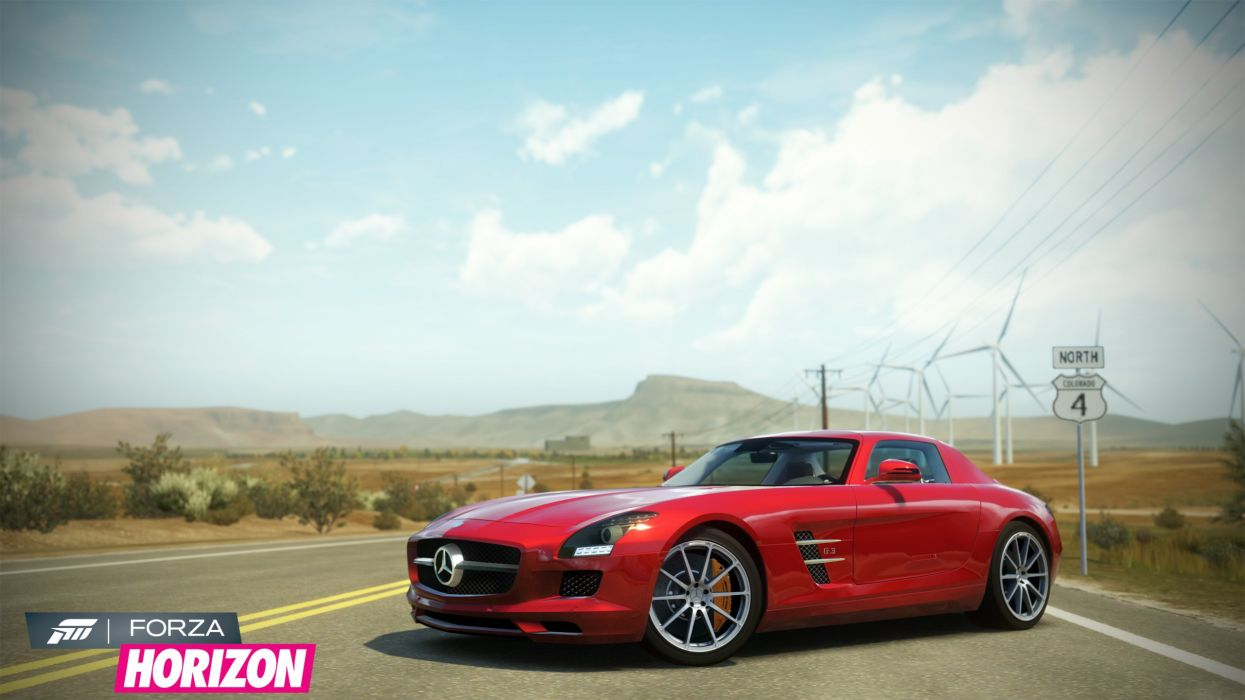 video games cars Xbox 360 Mercedes-Benz SLS AMG Forza Horizon wallpaper