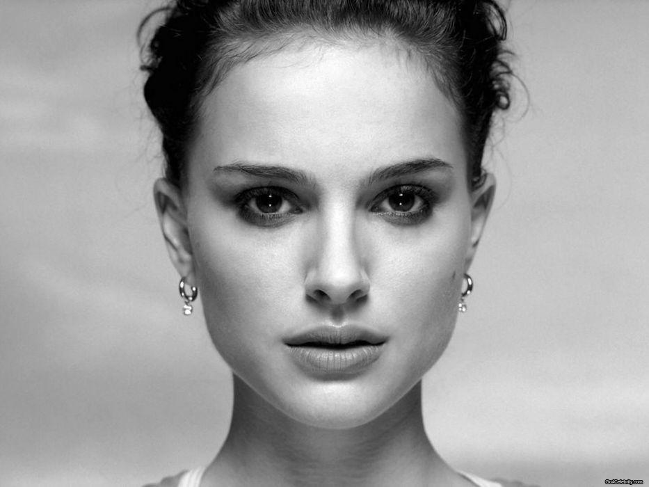 women actress Natalie Portman grayscale monochrome faces wallpaper