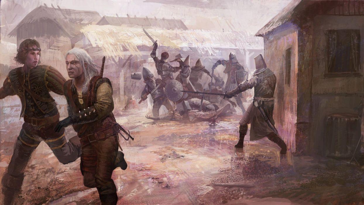 video games RPG The Witcher fantasy art artbook artwork Geralt of Rivia The Witcher 2: Assassins of Kings swords anjey sapkovsky pc games wallpaper