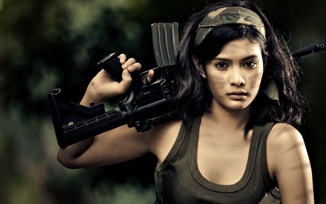 brunettes women guns weapons airsoft wallpaper