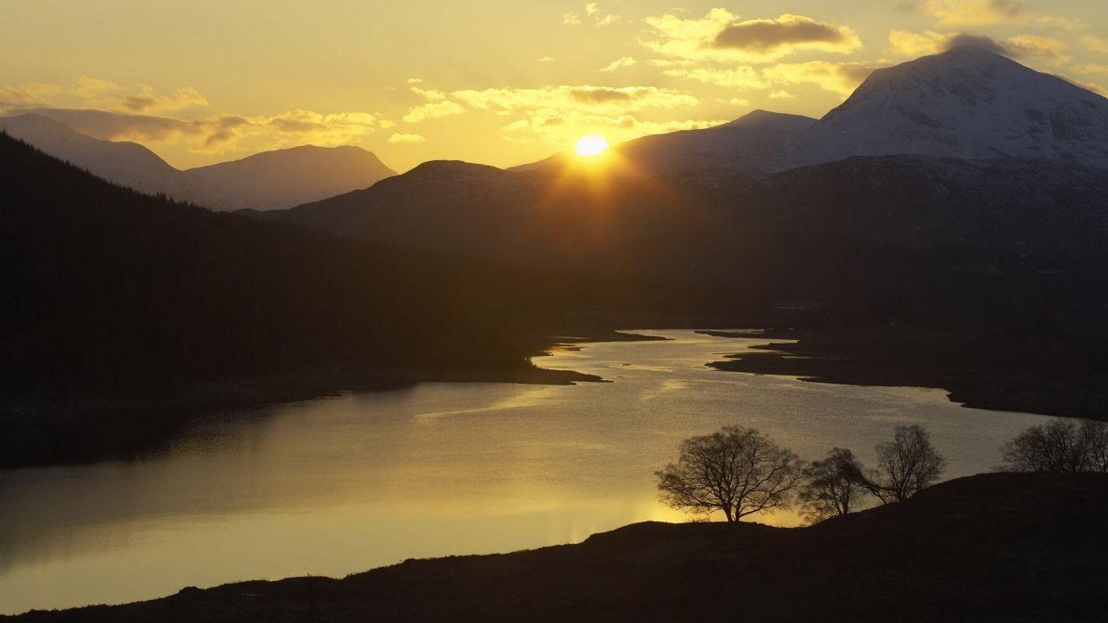 sunset garry western Scotland Highlands wallpaper