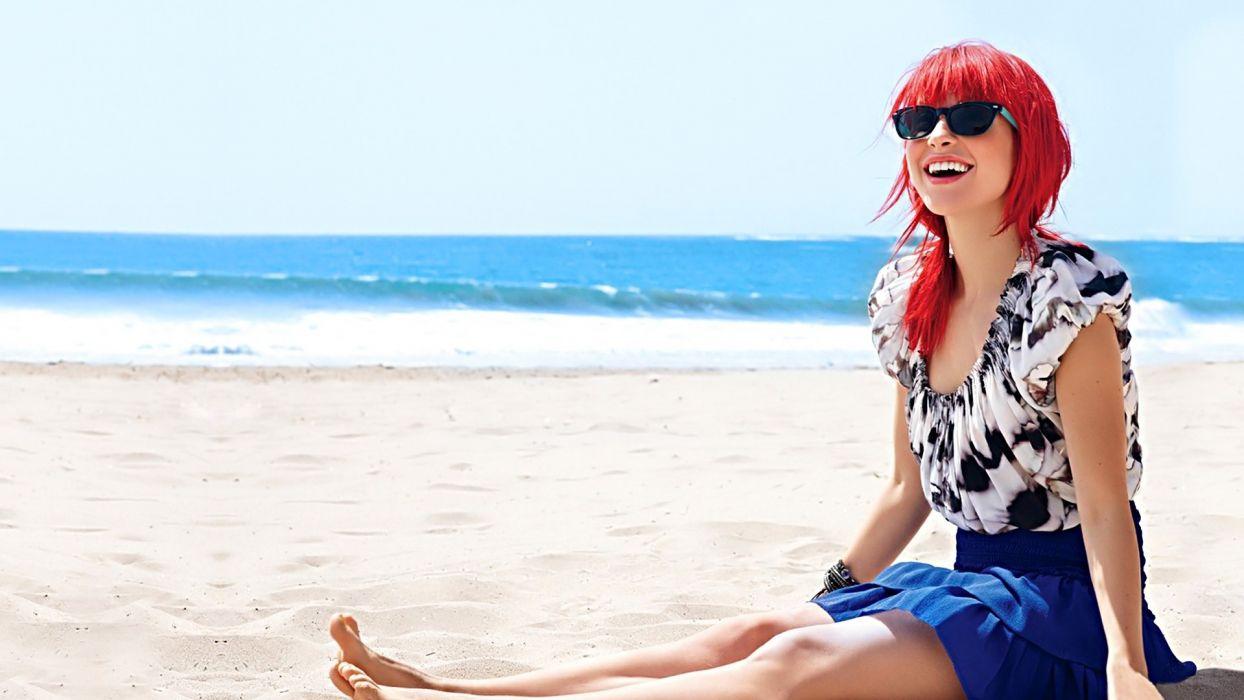 Hayley Williams women redheads sunglasses beaches wallpaper