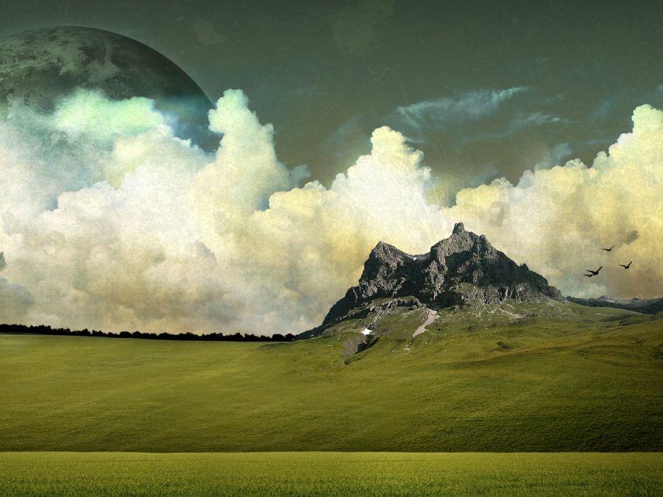digital art alien landscapes wallpaper
