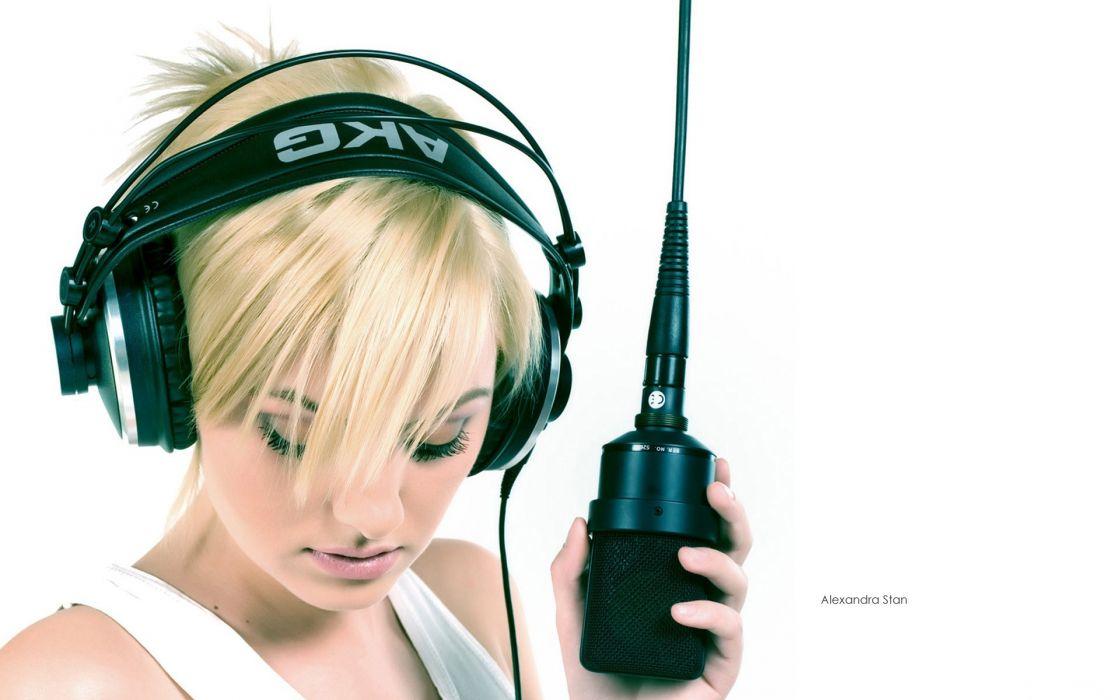 headphones brunettes blondes women Alexandra Stan microphones AKG wallpaper