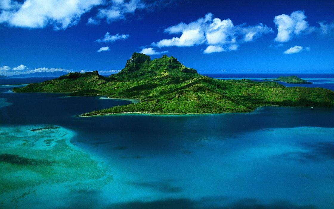 landscapes French Polynesia aerial Bora Bora wallpaper
