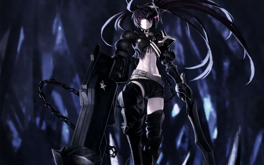 boots black dark Black Rock Shooter stars long hair belts weapons armor twintails collar shorts chains purple eyes choker anime girls glowing eyes Insane Black Rock Shooter swords low-angle shot black hair wallpaper
