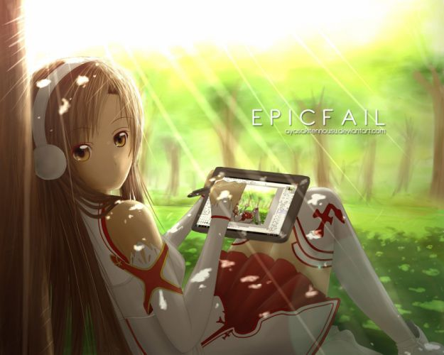 headphones brunettes skirts long hair outdoors brown eyes thigh highs drawings anime anime girls photo manipulation Sword Art Online Yuuki Asuna tablet wallpaper