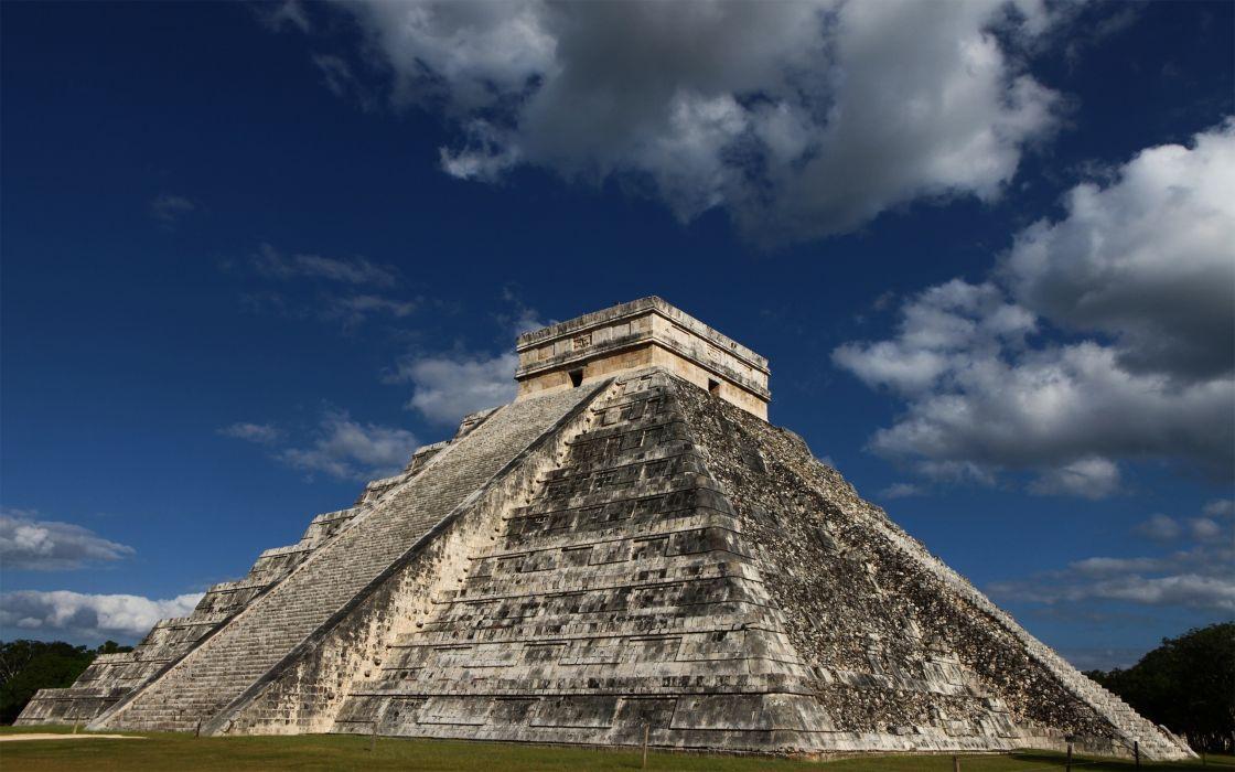 clouds architecture ancient skyscapes pyramids Mayan El Castillo ChichAIA wallpaper