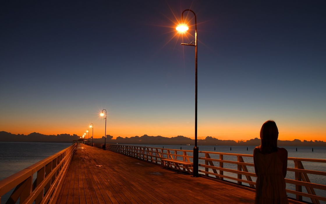 night lights roads sea wallpaper