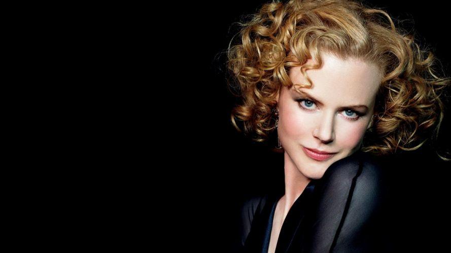 women Nicole Kidman curly hair black background wallpaper