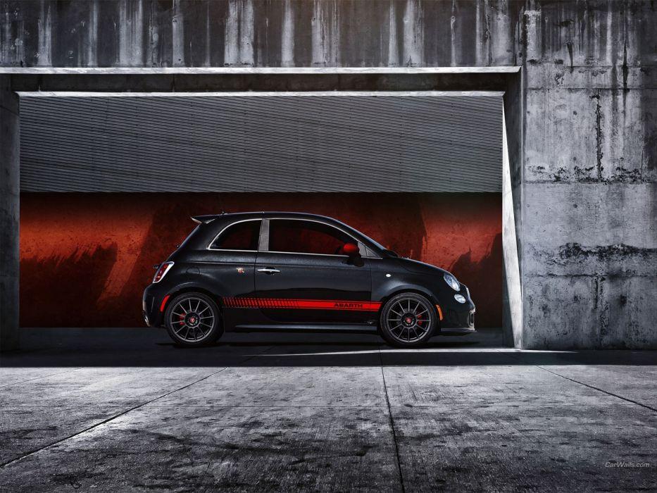 black cars Fiat 500 Abarth wallpaper