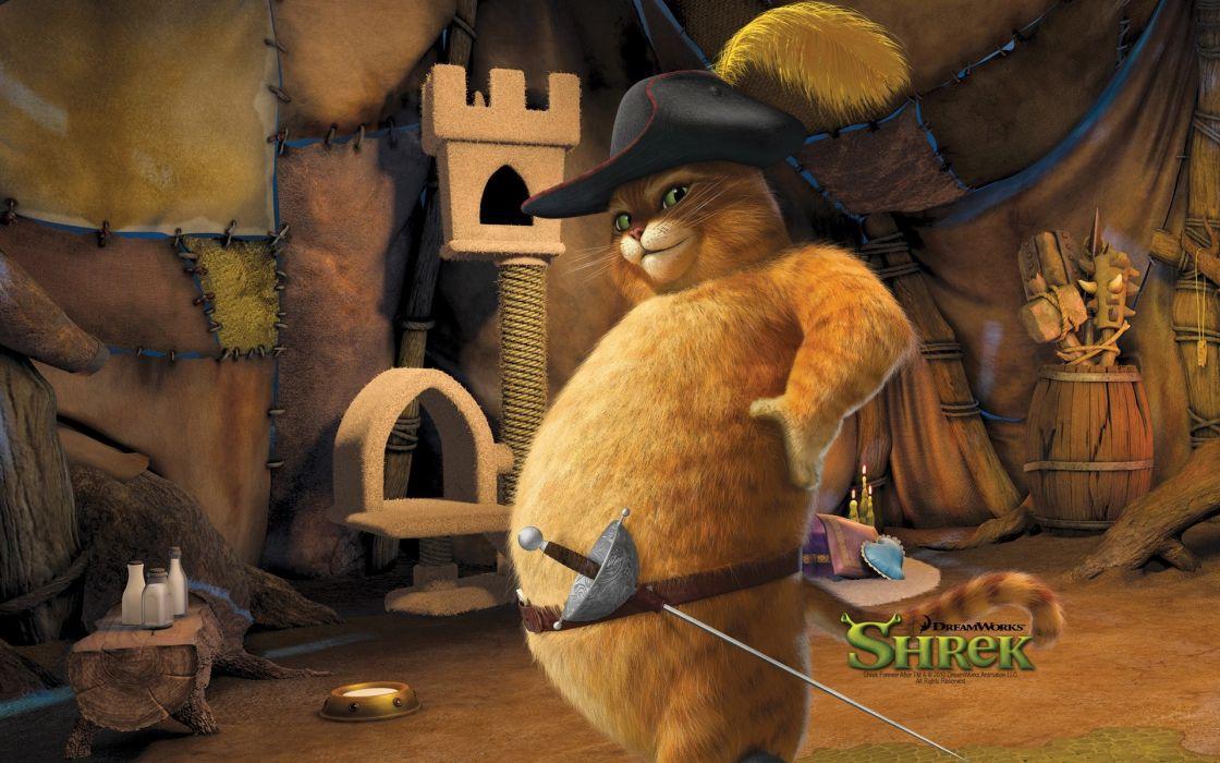 fat fantasy art Shrek Puss in Boots wallpaper