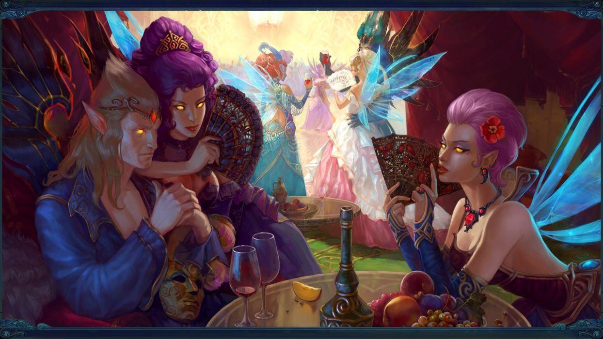 women video games wings fantasy art purple hair pink hair masks artwork long ears Allods Online wallpaper