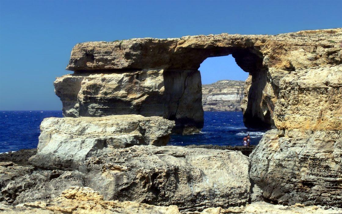 rocks skyscapes sea wallpaper