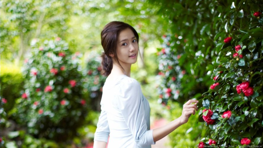 women nature flowers garden Girls Generation SNSD Asians Korean Im YoonA K-Pop wallpaper