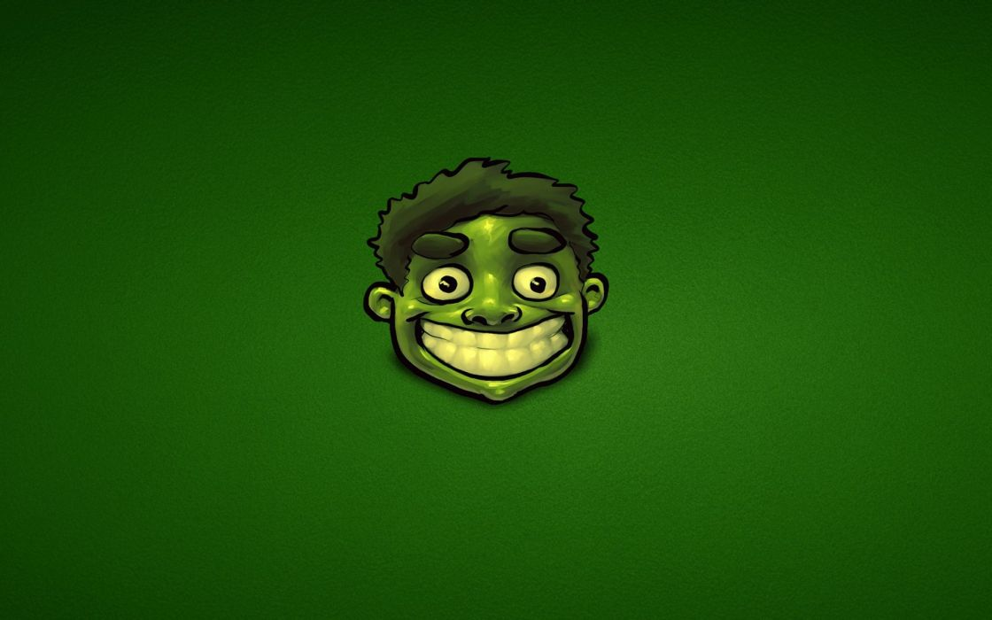 green Hulk (comic character) happy funny green background wallpaper