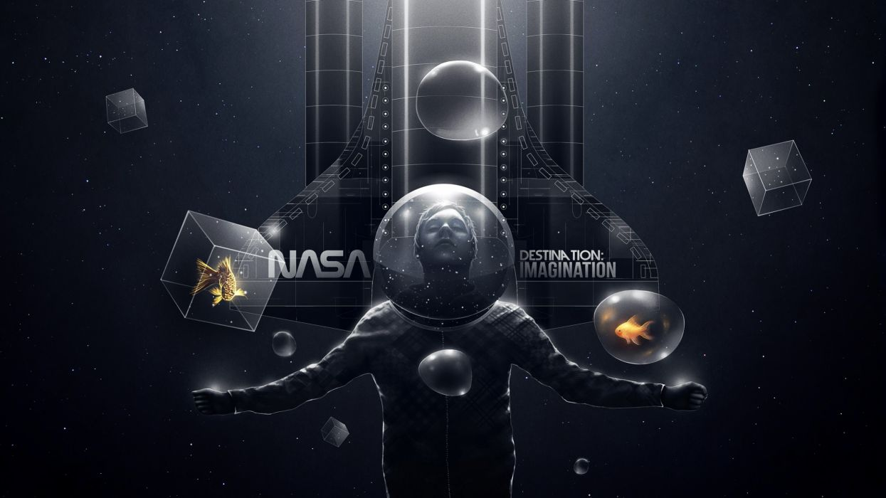 abstract outer space dark stars birds animals fish NASA bubbles fantasy art spaceships imagination space suits cubes particles Felix Baumgartner wallpaper