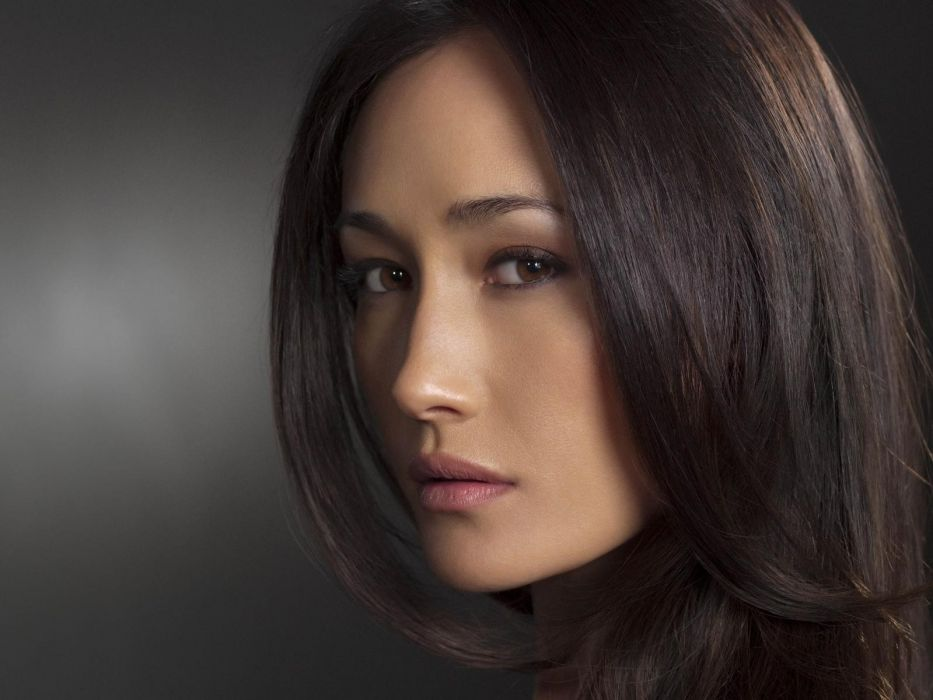 brunettes close-up models long hair brown eyes Chinese serene Asians Maggie Q Nikita faces wallpaper