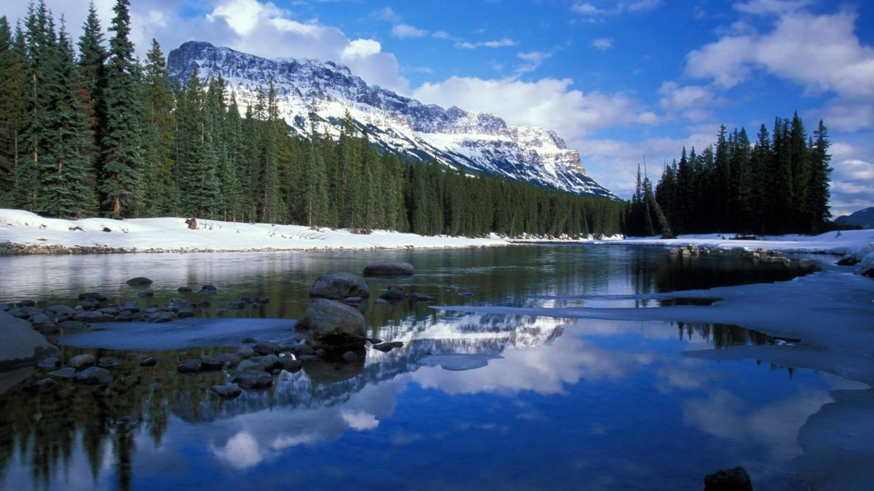 mountains landscapes nature Canada rivers wallpaper