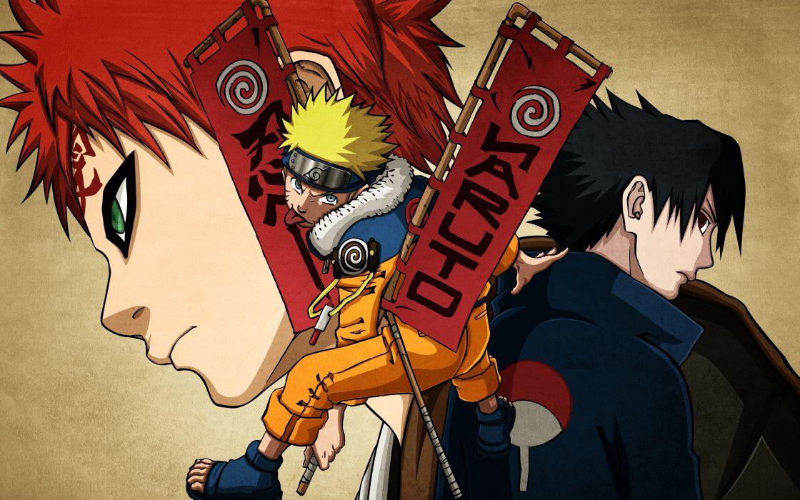 Uchiha Sasuke Naruto: Shippuden anime boys Gaara Uzumaki Naruto wallpaper
