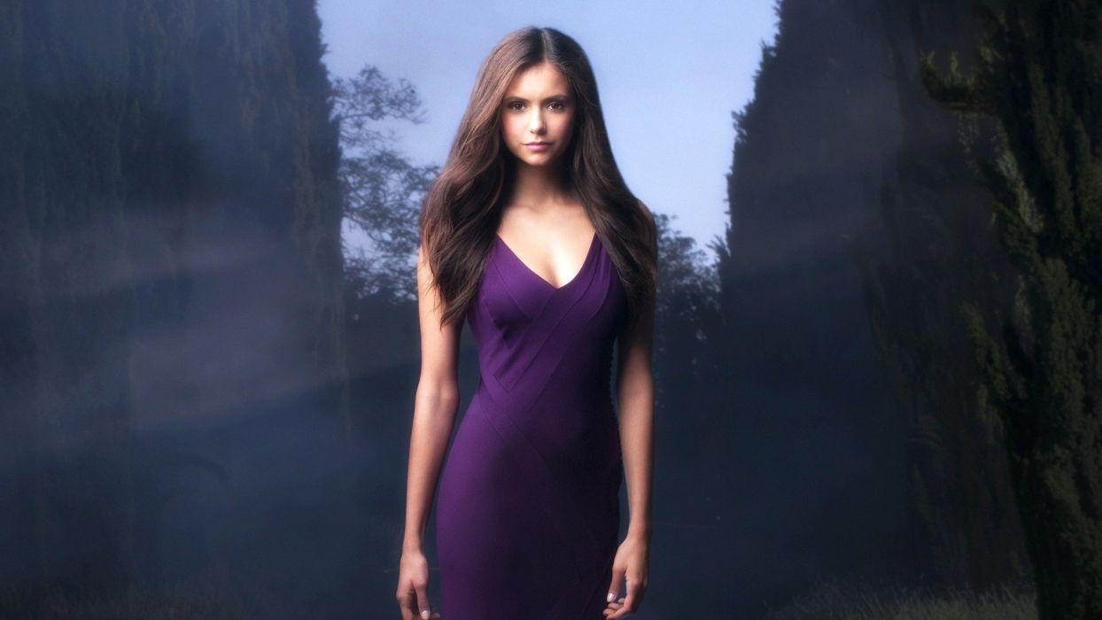 women celebrity Nina Dobrev purple dress wallpaper