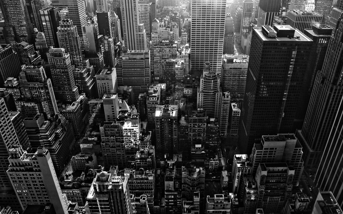 cityscapes buildings New York City monochrome greyscale wallpaper