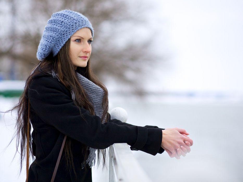brunettes blue eyes models long hair outdoors scarfs profile hats coat faces wallpaper