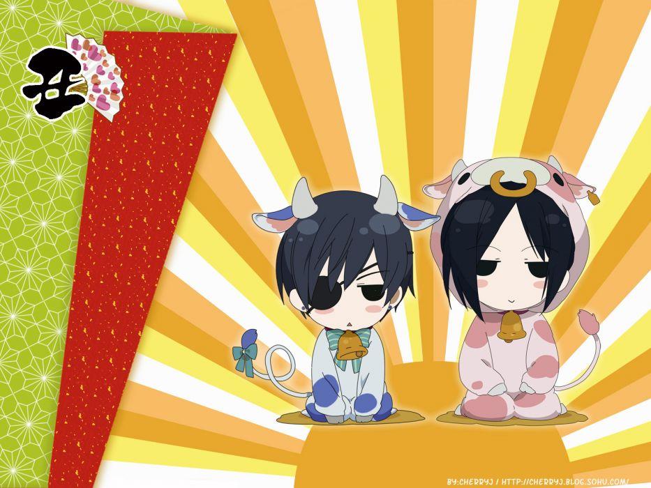 costume eyepatch Kuroshitsuji Ciel Phantomhive Sebastian Michaelis cows anime anime boys wallpaper