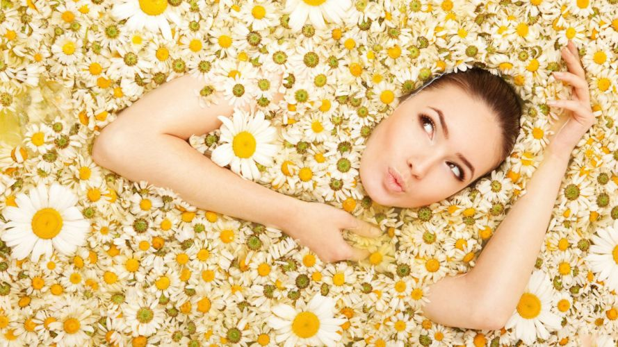 women flowers models wallpaper
