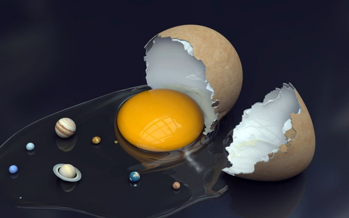 eggs outer space stars CGI parody wallpaper