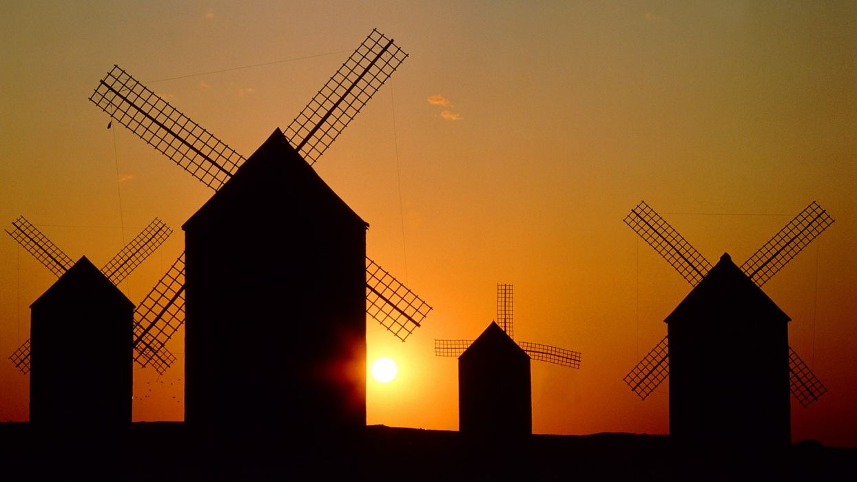 sunset Spain windmills wallpaper