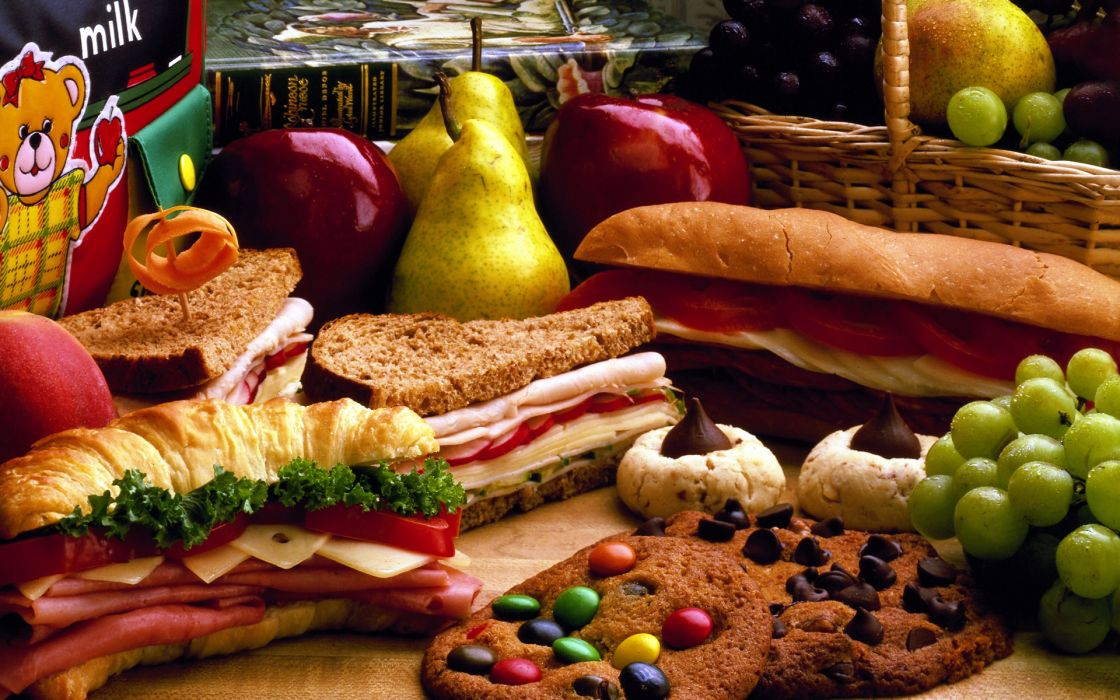 sandwiches food cookies bread grapes pears apples wallpaper