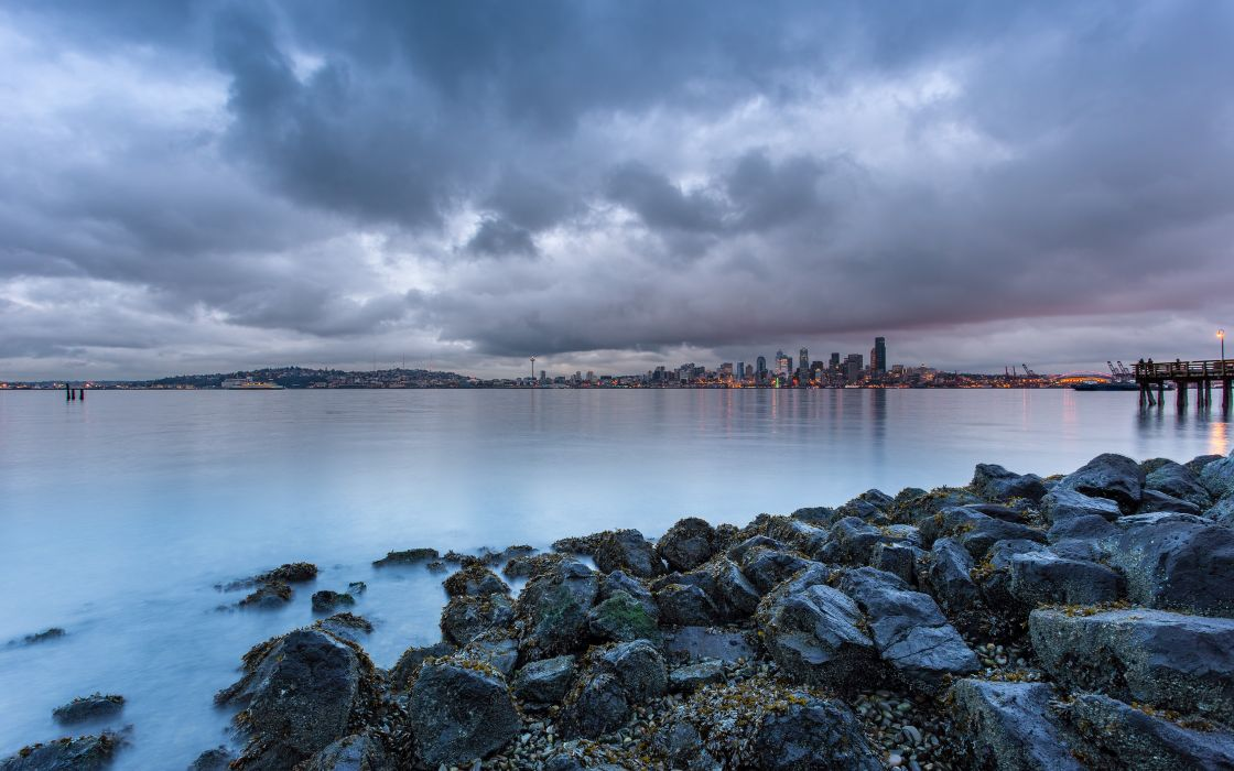 clouds landscapes nature coast cityscapes rocks Seattle piers USA overcast HDR photography Washington wallpaper