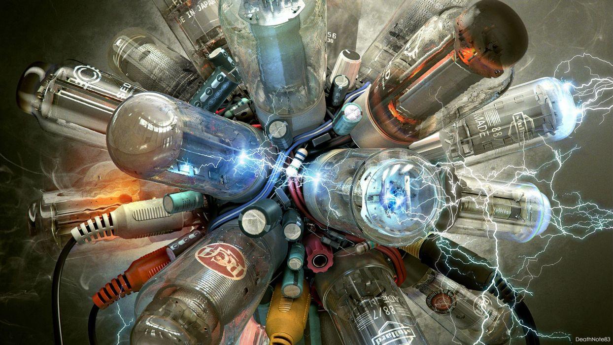 electricity fantasy art lamps cyberpunk machinery fuse wallpaper
