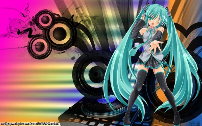 Vocaloid multicolor Hatsune Miku wallpaper
