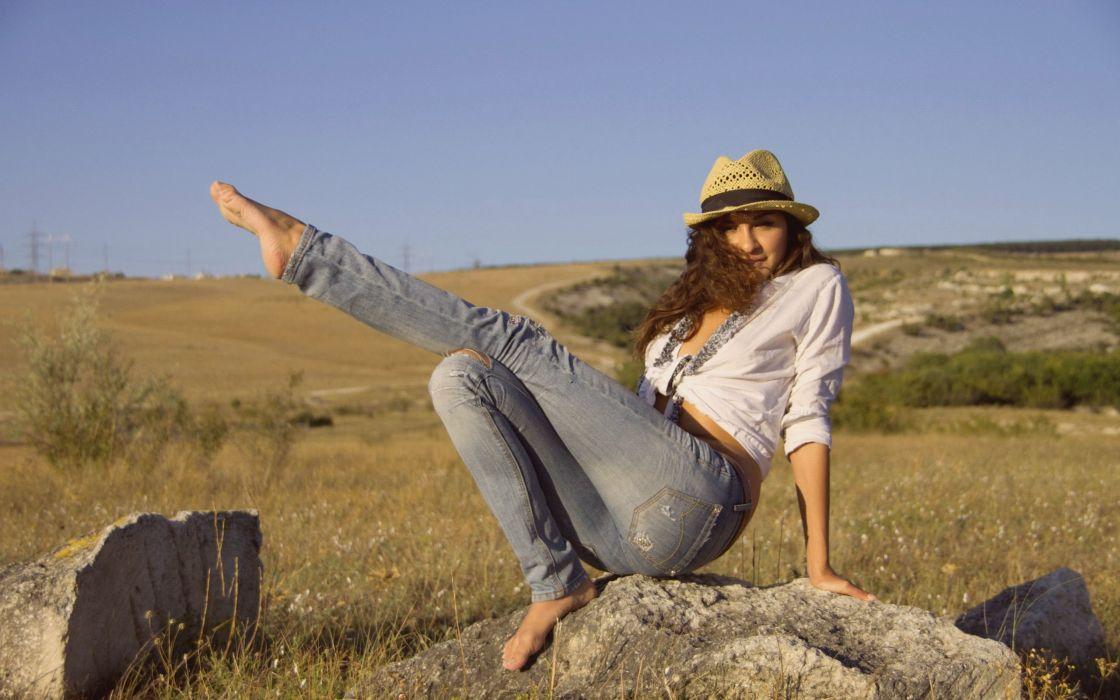 brunettes women jeans ass models Femjoy magazine barefoot hats Anya P legs up wallpaper