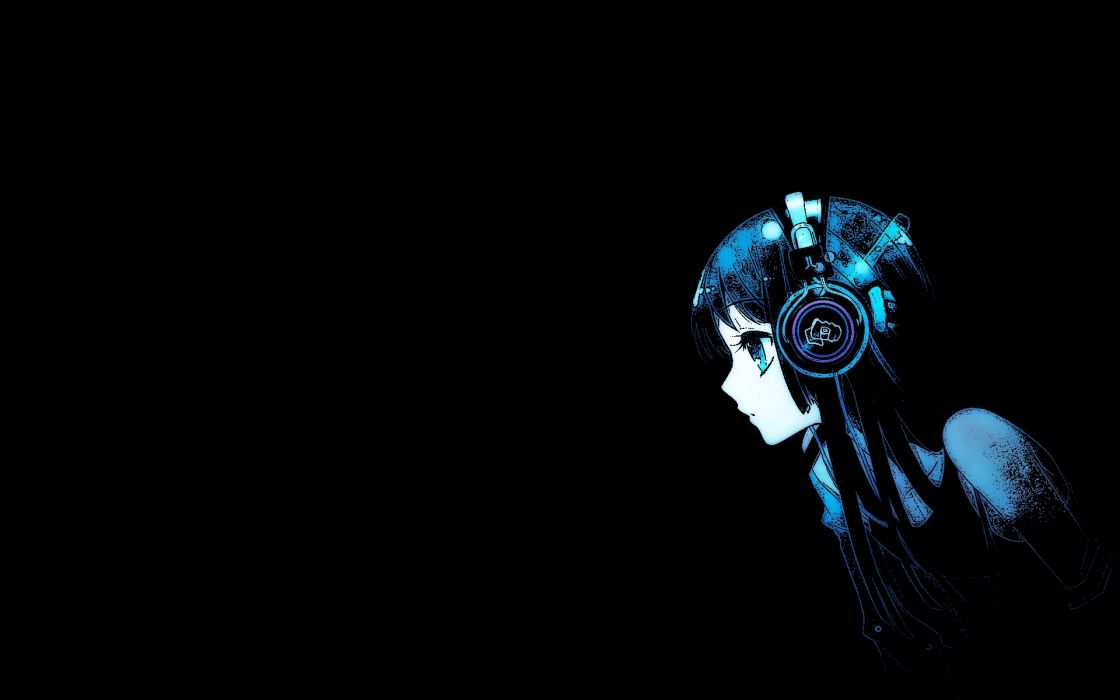 headphones K-ON! Akiyama Mio simple background wallpaper
