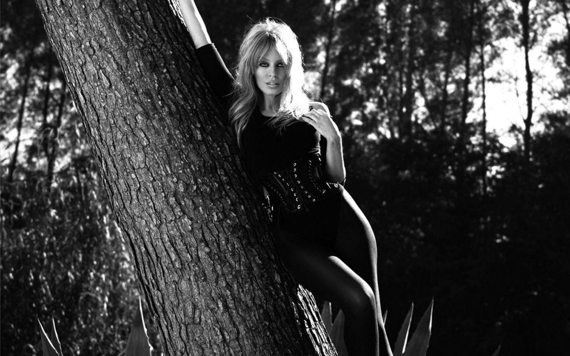 women trees Kylie Minogue monochrome wallpaper