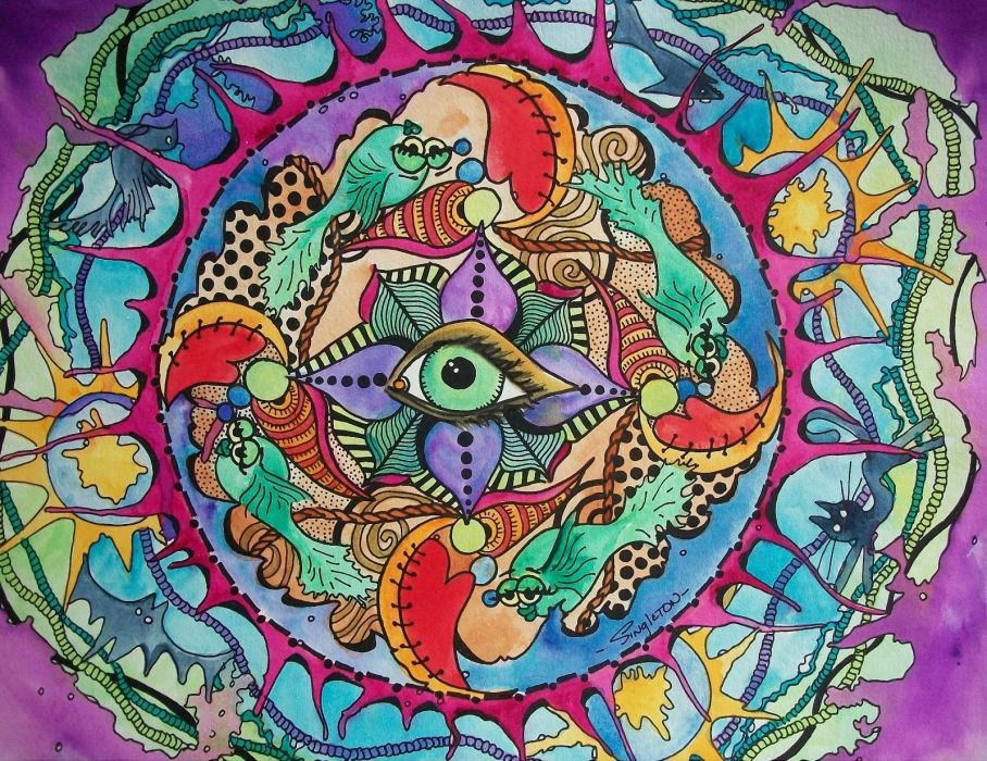 psychedelic fantasy eye fish       g wallpaper