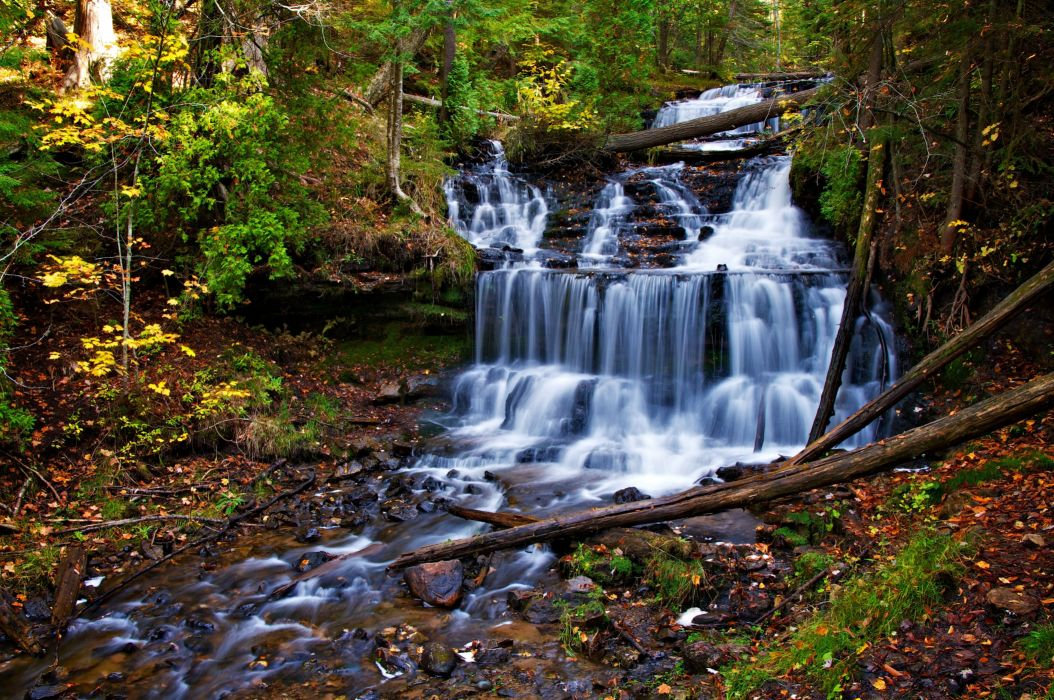 autumn waterfall cascade trees nature   g wallpaper