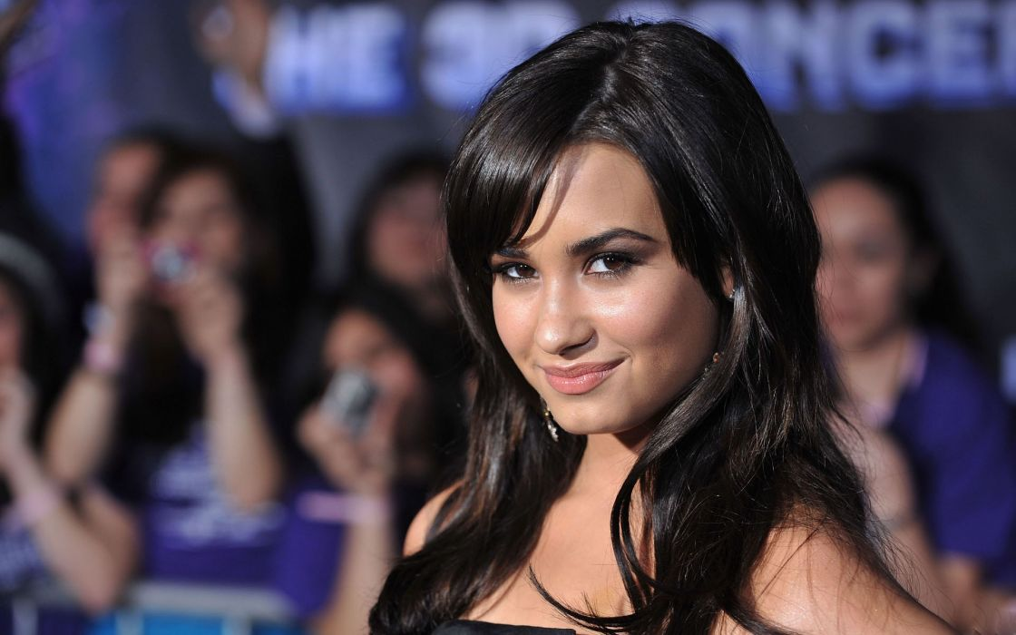 Demi Lovato celebrity brunette curls actress smile wallpaper