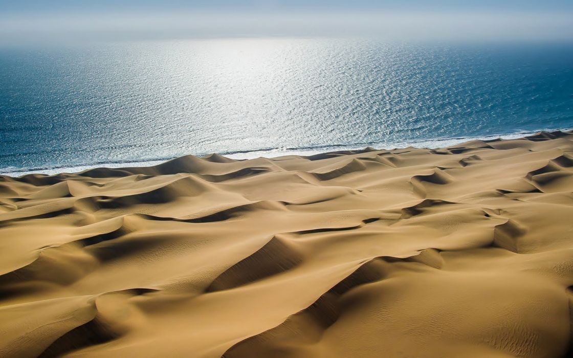 desert sand sea light dunes reflection       h wallpaper