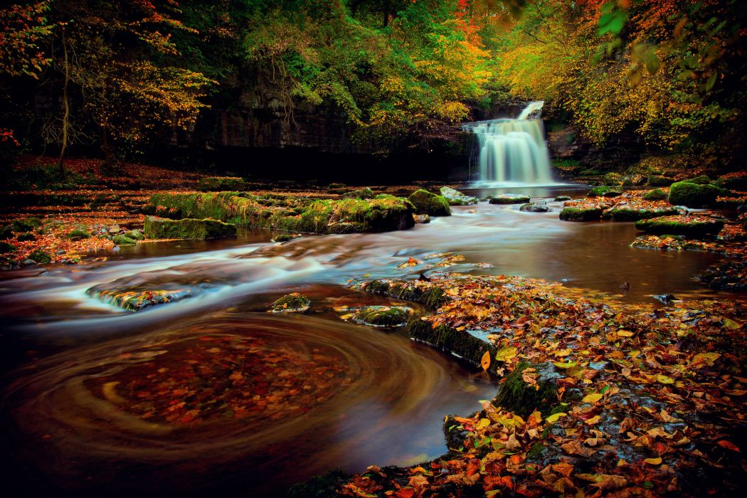 England waterfall forest Yorkshire autumn     h wallpaper