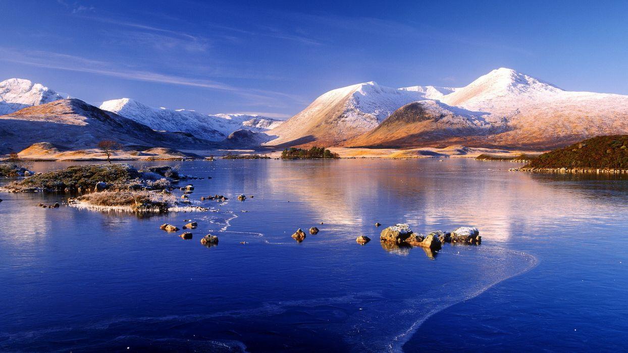 ice lake winter snow mountains reflection      h wallpaper