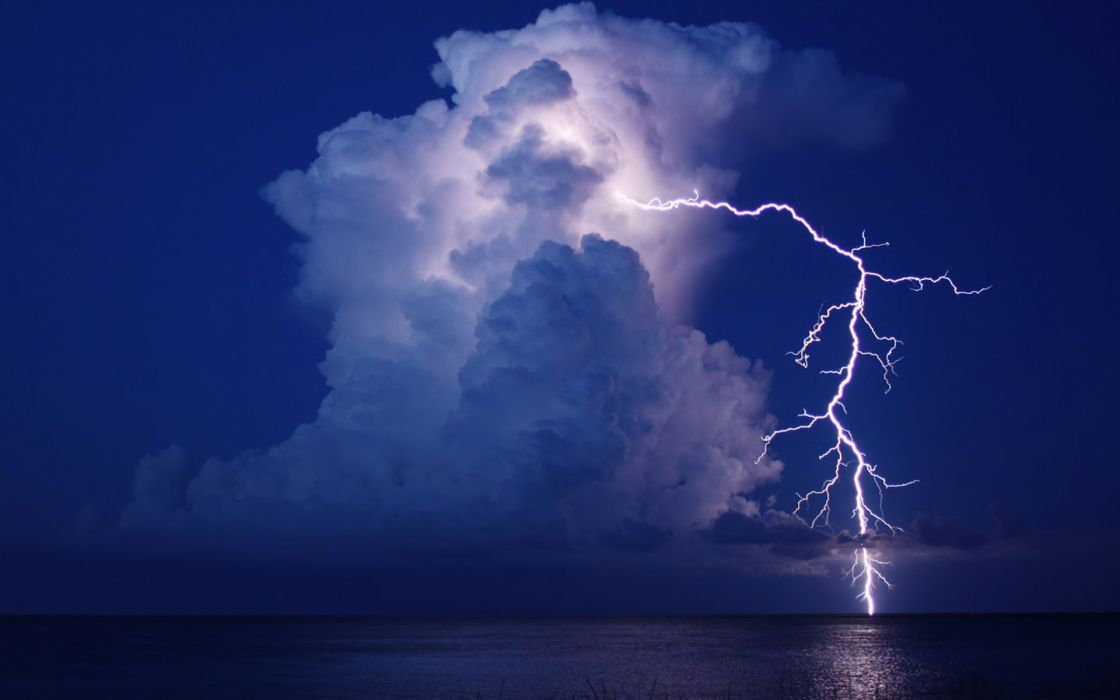 lightning cloud night water storm reflection sea ocean     f wallpaper