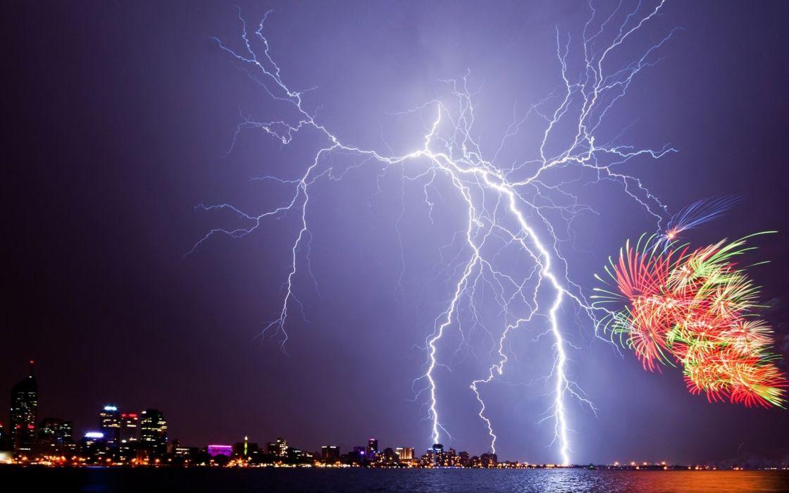 lightning fireworks night city new year july 4th storm city wallpaper