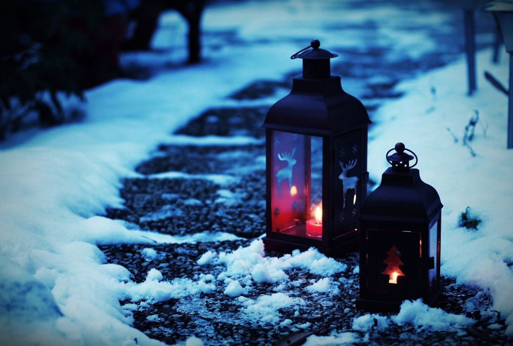 mood snow lantern lamp christmas fire candle      f wallpaper
