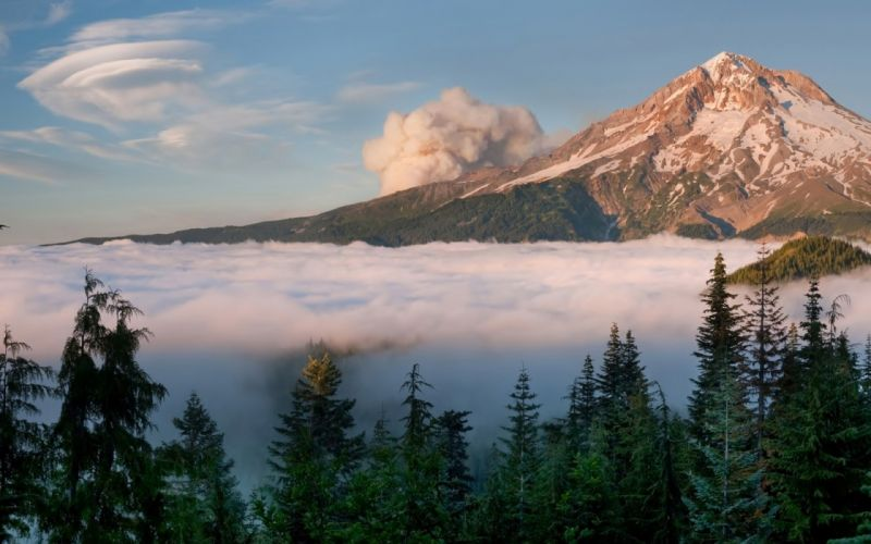mountain clouds forest volcano f wallpaper