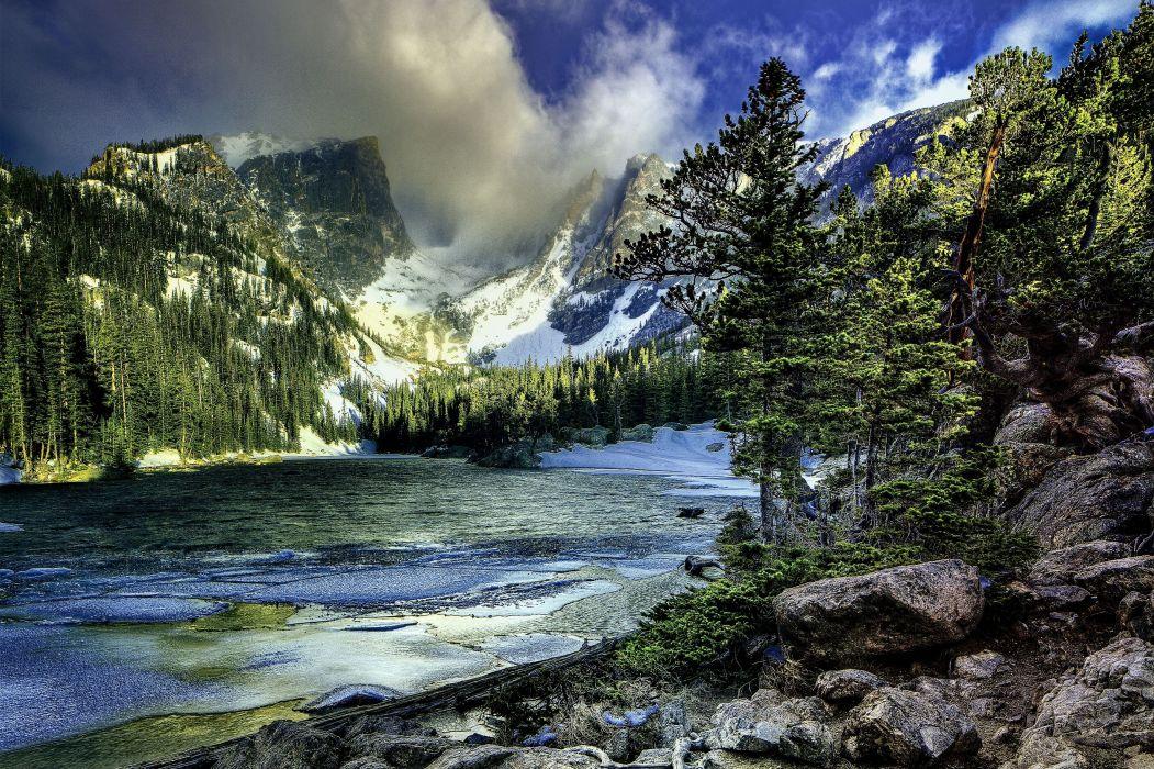 mountain lake Yosemite National Park trees winter landscape hdr     g wallpaper
